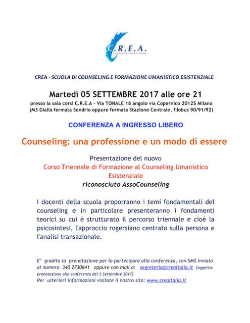 """Martedì 05 /09/2017 alle ore 21:00  Conferenza a ingresso libero """"Counseling: una professione e un modo di essere"""""""