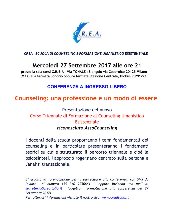 """27/09/2017 alle ore 21:00  Conferenza ad ingresso libero """"Counselilng :una professione ed un modo di essere"""" Sede Corsi C.R.E.A Via Tonale 18 Milano"""