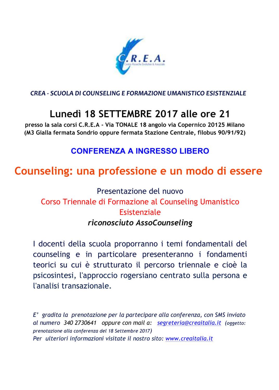 CONFERENZA A INGRESSO LIBERO Lunedì 18/09/2017 ore 21:00 * Sala Corsi CREA – V. Tonale 18 Milano