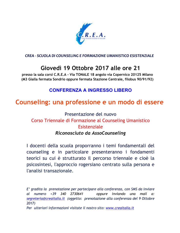 """A richiesta: 19/10/2017 ore 21:00 riproponiamo una Conferenza ad Ingresso Libero """" Counseling: una professione e un modo di essere"""" presso la Sala Corsi CREA"""