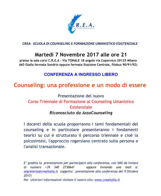 """martedì 7/11/2017 ore 21:00 conferenza a ingresso libero """"Counseling: una professione e un modo di essere"""" presso la Sala Corsi C.R.E.A."""