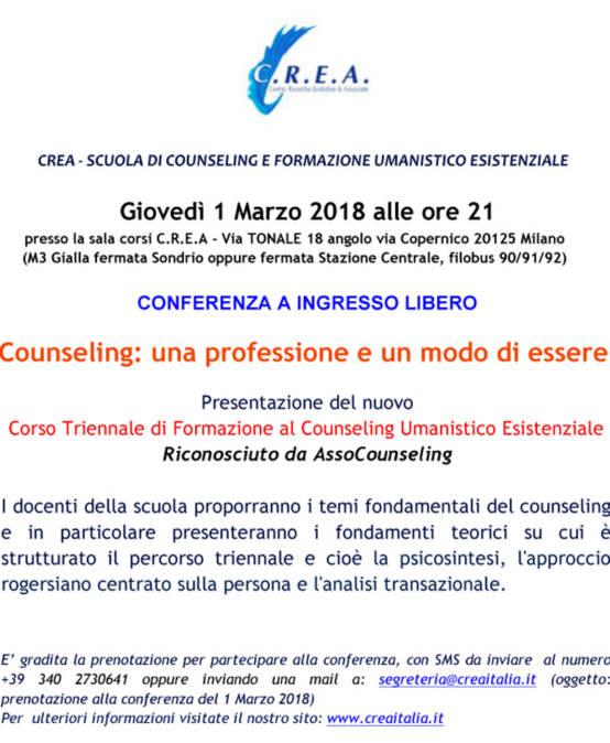 """ATTENZIONE!!!!!!!! ANNULLATA CAUSA NEVE: A BREVE NUOVA DATA  il 1/03/2018 alle ore 21:00 – conferenza a ingresso libero """"Counseling: una professione e un modo di essere"""" presentazione del nuovo Corso Triennale"""