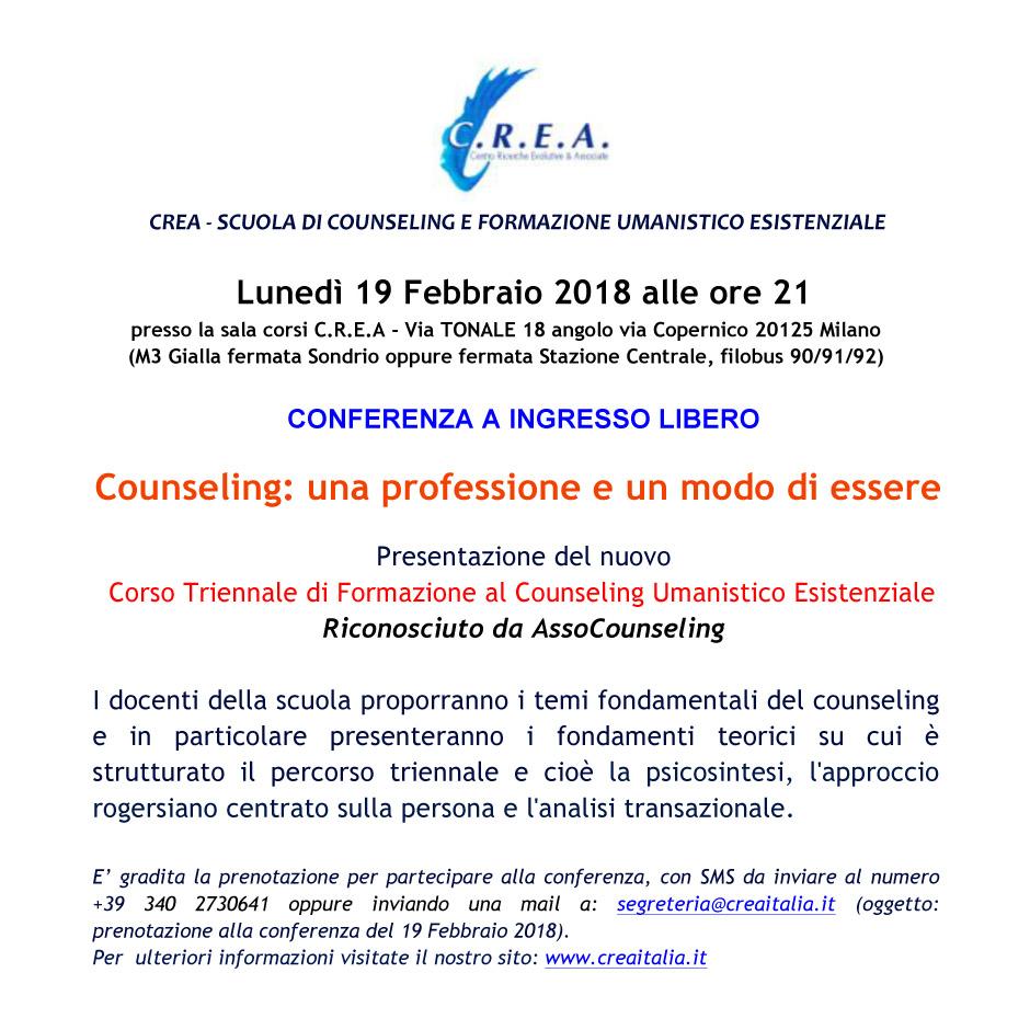 """Lunedì 19/02/2018 ore 21:00 conferenza a ingresso libero : """"Counseling: una professione e un modo di essere""""  Milano – Via Tonale 18"""