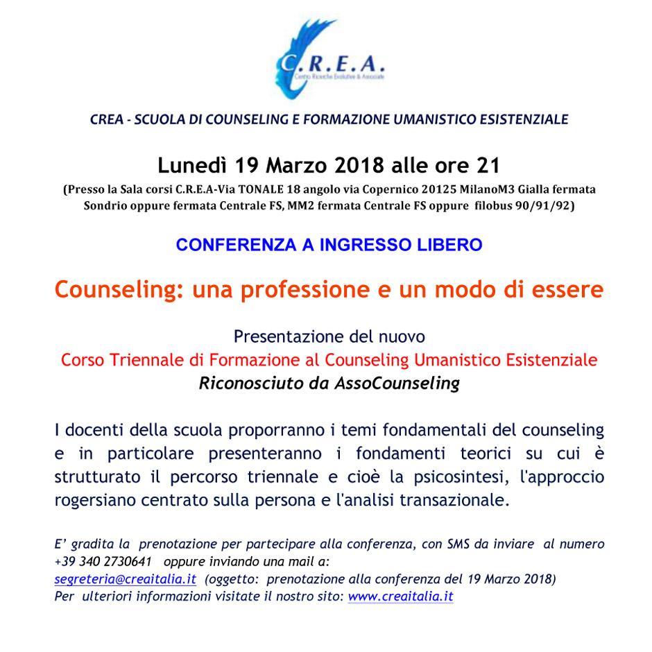 """lunedì 19/03/18 ore 21:00 – Conferenza a ingresso libero:""""Counseling: una professione e un modo di essere"""" – Presentazione del nuovo Corso Triennale"""