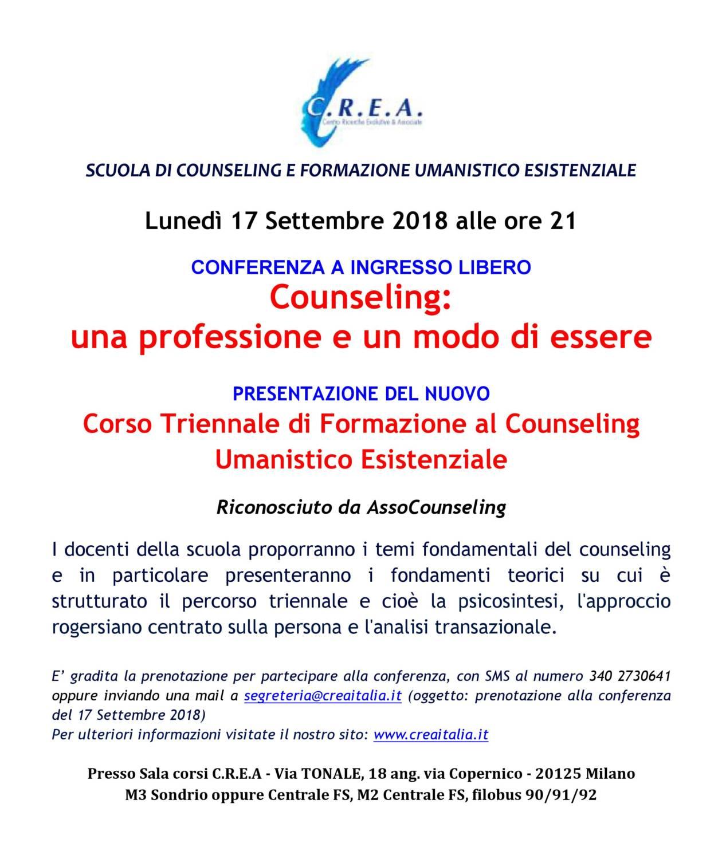 17 sett. 2018 ore 21 Conferenza per la presentazione del Corso Triennale di Formazione al Counseling Umanistico Esistenziale