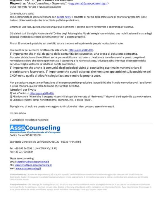 """invito di Assocounseling """"Vota """"sì"""" per il futuro dei counselor :fino al 25 ottobre è possibile, sul sito UNI, votare la norma ed esprimere le proprie motivazioni al voto"""""""