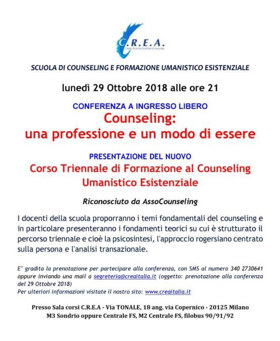 lunedì 29/10/ 2018 alle ore 21:00 conferenza ad ingresso libero : Counseling presentazione del nuovo Corso Triennale di Formazione Riconosciuto da AssoCounseling