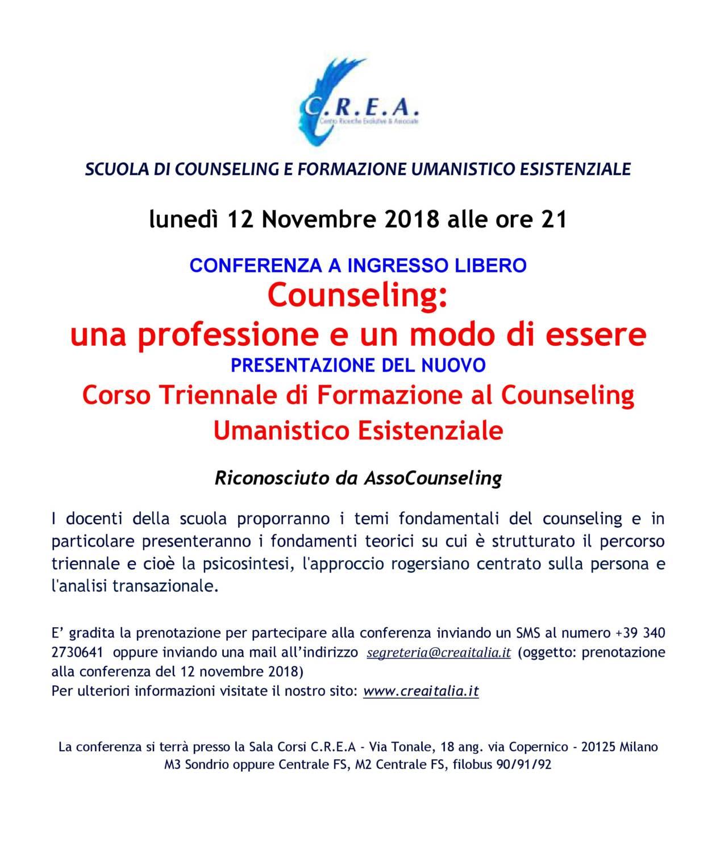 """lunedì 12 Novembre 2018 ore 21:00 Conferenza ad Ingresso libero """"Presentazione del nuovo Corso Triennale di Formazione al Counseling Umanistico Esistenziale"""""""