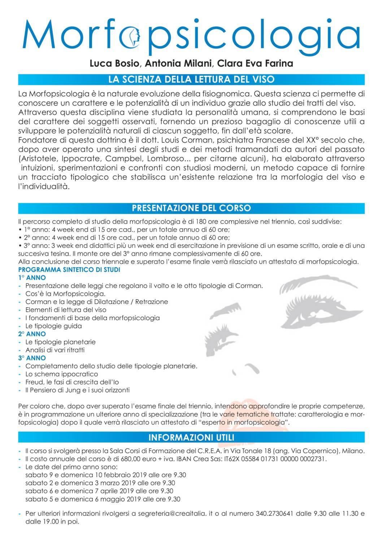 Primo anno del Corso Triennale di Morfopsicologia: c/o la Sala Corsi Via Tonale 18 Milano  Info: segreteria@creaitalia.it//mob.+39 340.27.30.641