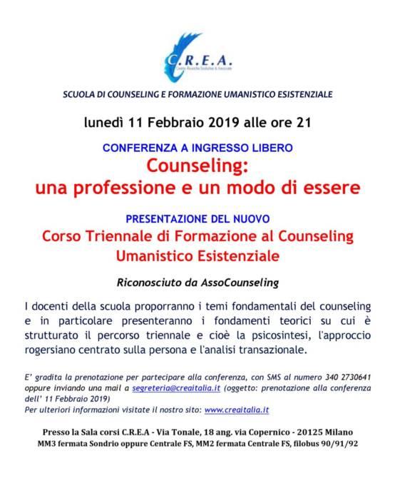 Corso Triennale di Formazione al Counseling Umanistico Esistenziale: sono aperte le iscrizioni – per info: segreteria@creaitalia.it ; mob.+39 340.27.30.641