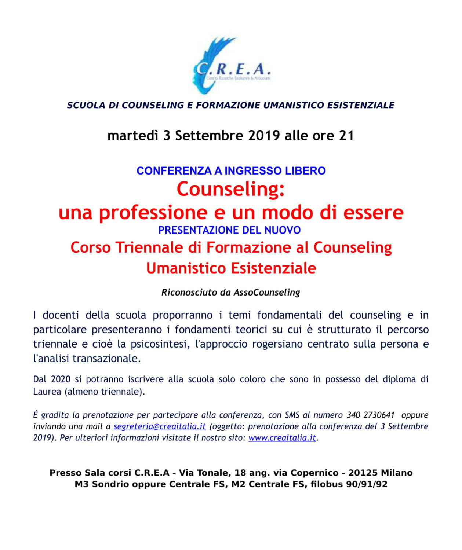 3/09/2019 Conferenza ad ingresso libero