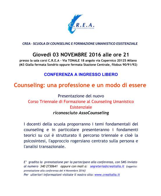 """03/11/2016 – Conferenza ingresso libero: """"Counseling: una professione e un modo di essere"""""""