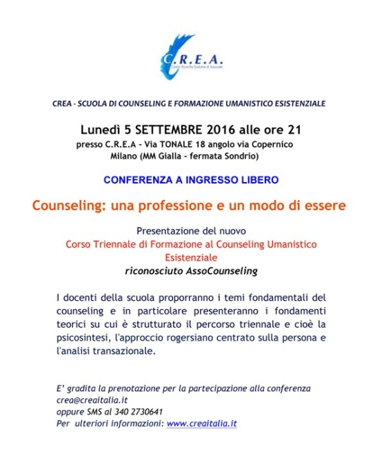 Conferenza a ingresso libero il 5/09/2016 alle ore 21:00 -V.Tonale 18 ang. V. Copernico –  Milano