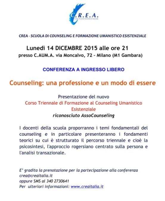 ore 21:00 del  14/12/2015 Conferenza a ingresso libero riconosciuta Assocounseling – Scuola di Counseling Umanistico Esistenziale