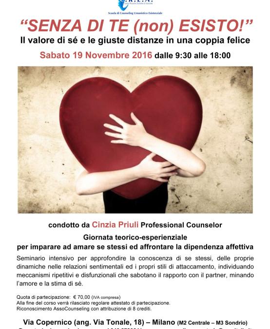 """19/11/2016 – Seminario """"SENZA DI TE (non) ESISTO!"""