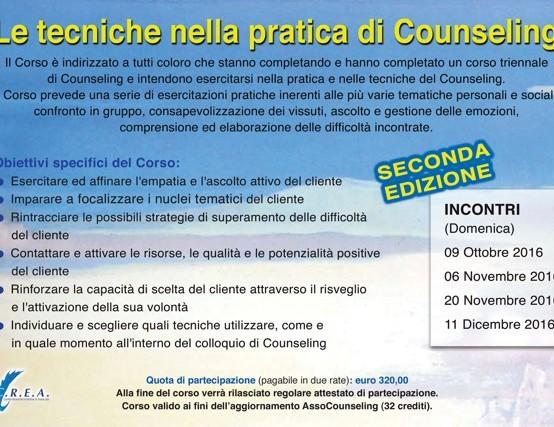 segue: LE TECNICHE NELLA PRATICA SI COUNSELING – seconda edizione – Dott.Colaleo G. , percorsi di quattro incontri dalle 10:00 alle 19:00