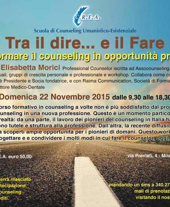 "22/11/2015 – Workshop ""Tra il Dire… e il Fare"""