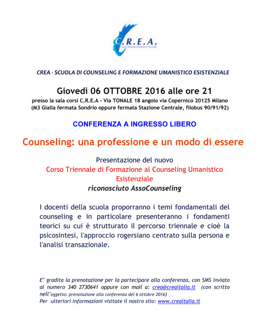 Giovedì 6/10/2016 ore 21:00 Conferenza ad ingresso libero – Presentazione Scuola Triennale – Via Tonale 18, Milano