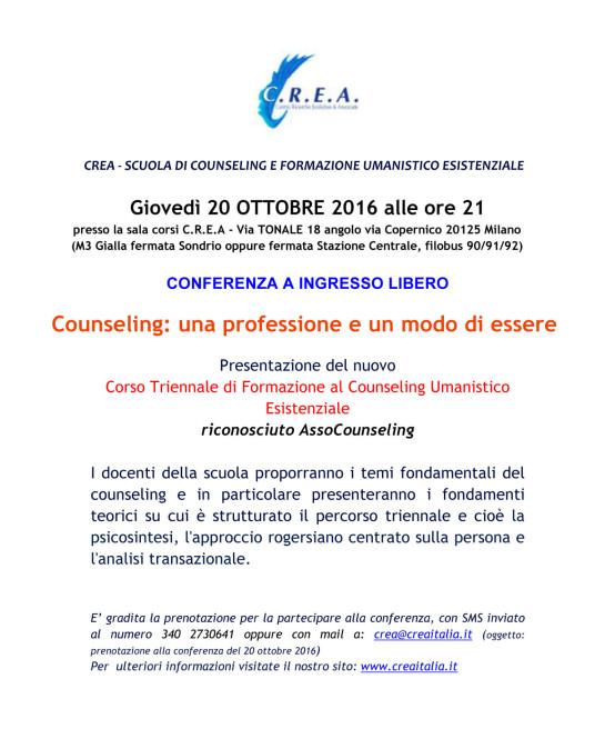20/10/2016 – Conferenza ad ingresso libero Triennale di Formazione al Counseling